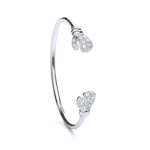 Sterling Silver Baby CZ  Boxing Glove Bangle