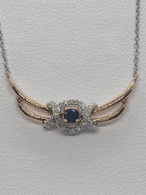9ct Gold Diamond Sapphire Necklace