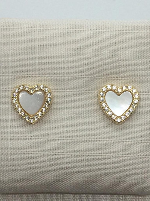 Sterling Silver Gold plated  Mother of Pearl Earrings