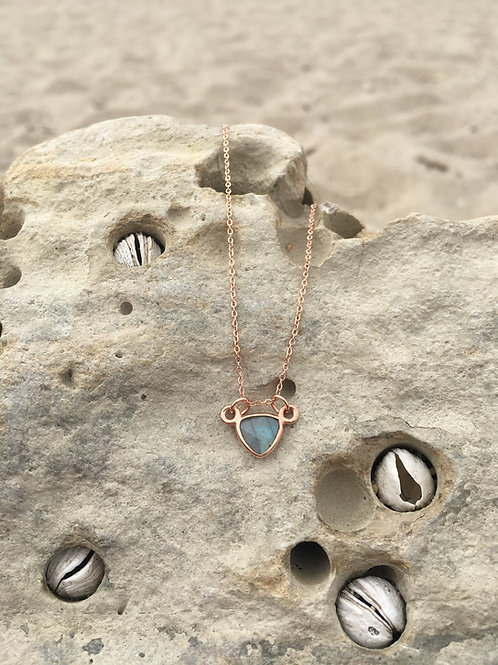 Gypsy Moon Labradorite Petite Triangle {3} - Rose Gold