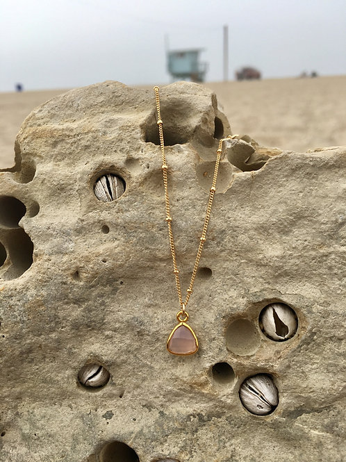 Heart Healing Rose Quartz Sacred Triangle drop - Gold