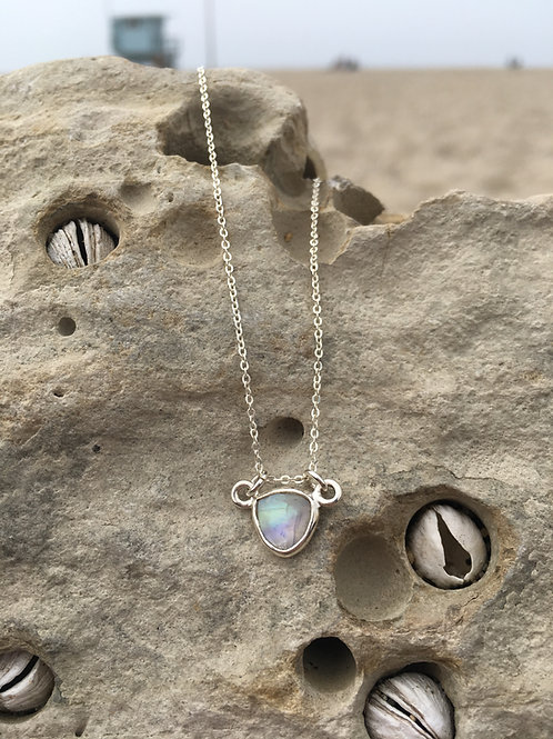 Gypsy Moon Moonstone Petite Triangle {3} - Silver
