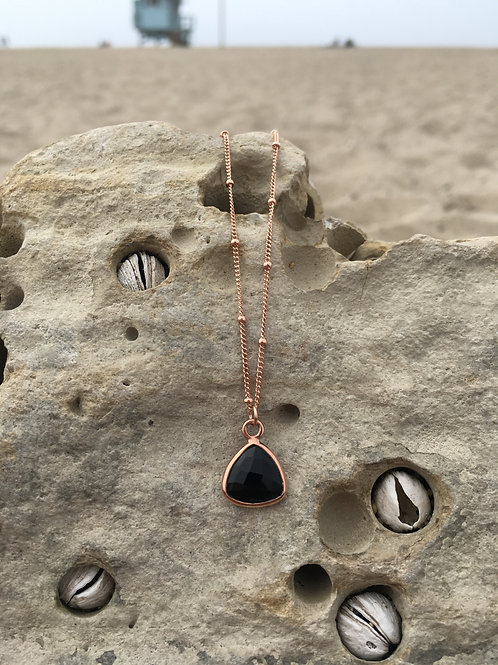 Gypsy Moon Onyx Sacred Triangle Drop - Rose Gold