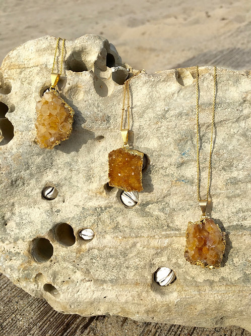 Gypsy Moon Citrine Geode Cluster - Gold