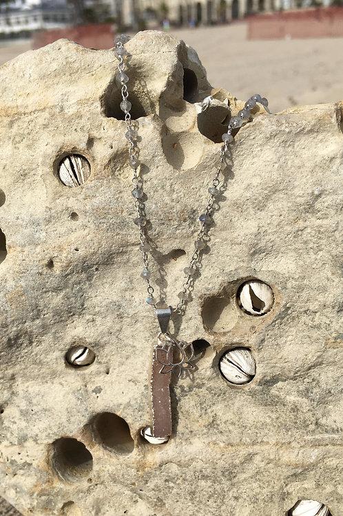 Gypsy Druzy Bar on Labradorite Chain - Silver