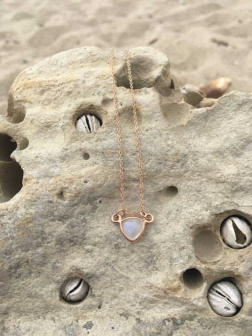 Gypsy Moon Moonstone Petite Triangle {3} - Rose Gold