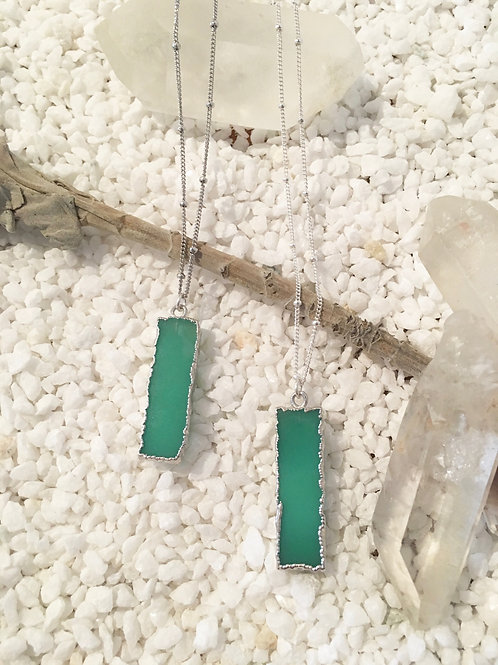 Chrysoprase Crystal Bar - Silver