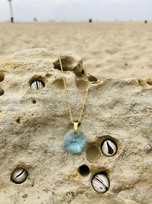 Sacred Octagonal Shield - Akashic Swarovski Aquamarine