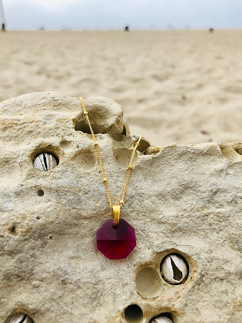 Sacred Octagonal Shield - Akashic Swarovski Ruby