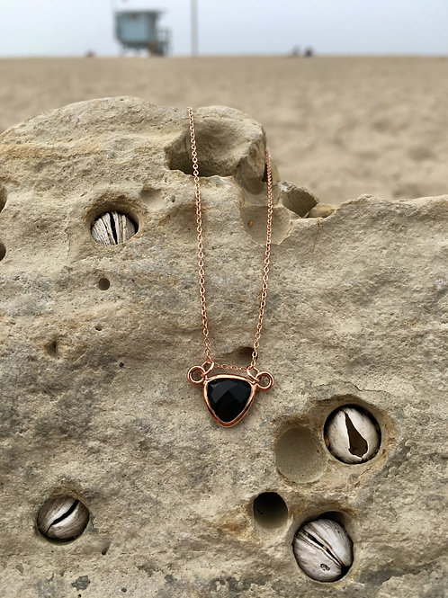 Gypsy Moon Onyx Sacred Triangle - Rose Gold