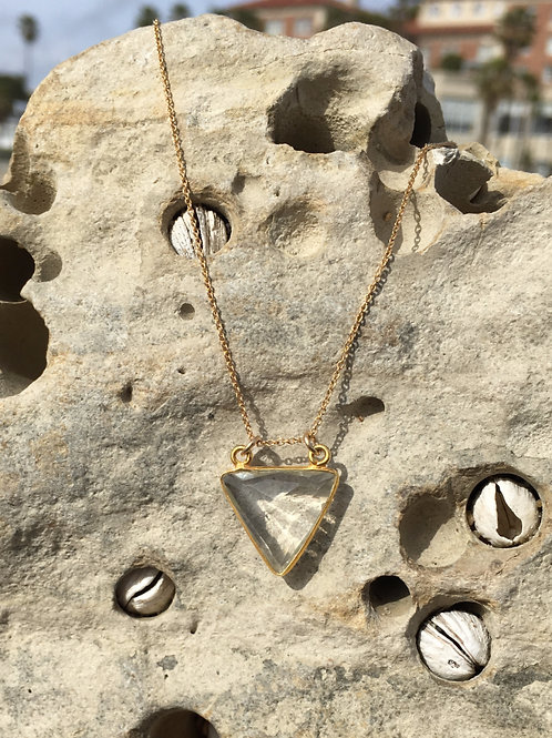 Clear Quartz Sacred Clarity Triangle - Gold