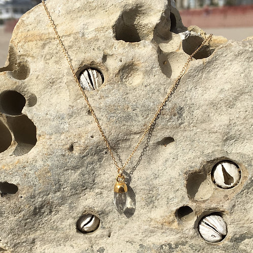 Gypsy Moon Clear Quartz Teardrop - Gold