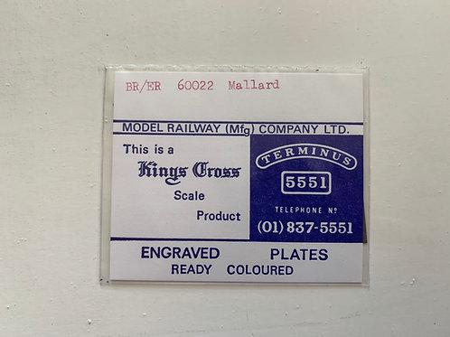 KINGS CROSS - ENGRAVED PLATES - BR/ER 60022 MALLARD