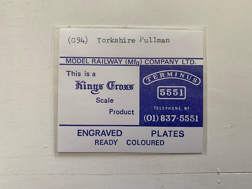 KINGS CROSS - ENGRAVED PLATES - (G94) YORKSHIRE PULLMAN