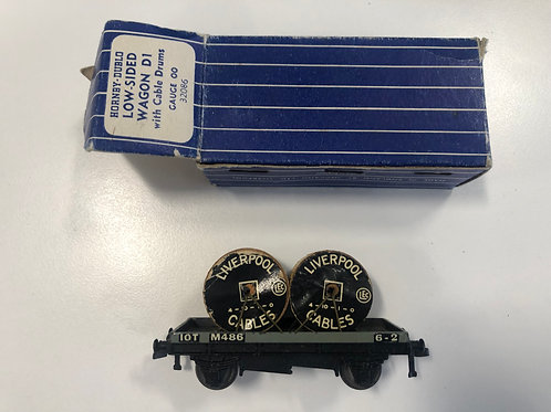 32086 D1 LOW SIDED WAGON WITH CABLE DRUMS - 3 RAIL