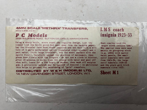 PC MODELS - M1 LMS COACH INSIGNIA 1923-33