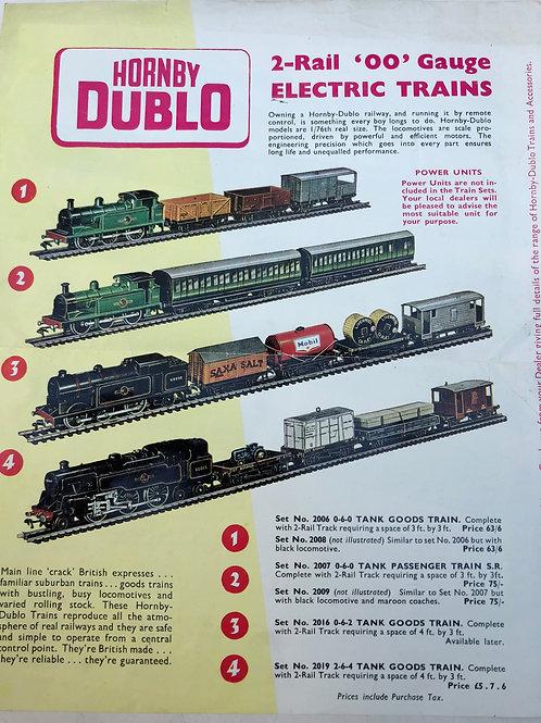 HORNBY DUBLO - COLOURED PRICE LISTING 1960's