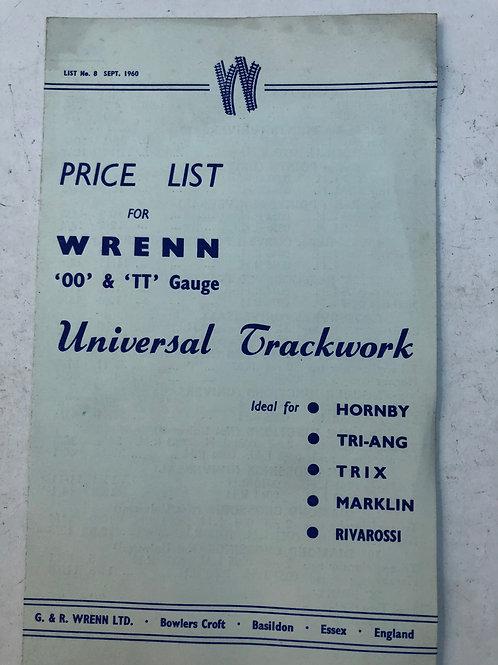 WRENN UNIVERSAL TRACKWORK PRICE LIST SEPTEMBER 1960