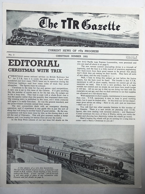 TTR TRIX TWIN RAILWAY - GAZETTE No 3 CHRISTMAS 1951