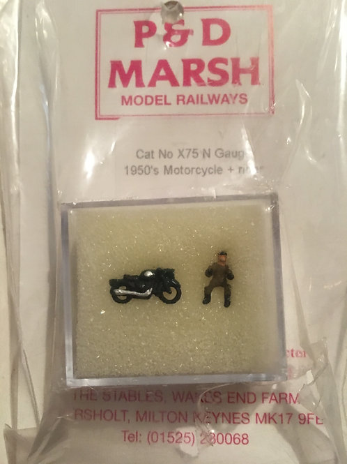 P&D MARSH X75 1950'S MOTORCYCLE & RIDER