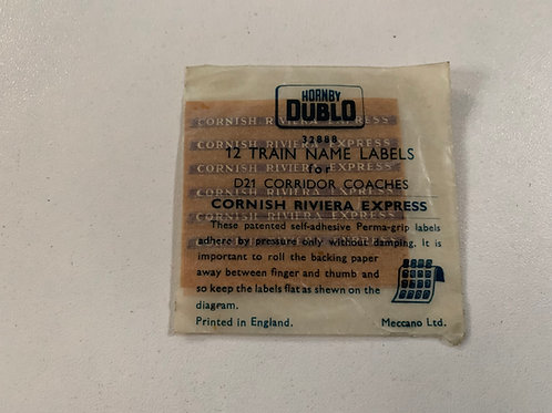 32888 12 TRAIN NAME LABELS FOR D21 COACHES - CORNISH RIVIERA EXPRESS