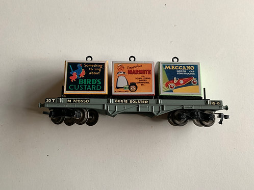 32051 D1 BOGIE BOLSTER WAGON WITH 3 CONTAINER LOAD