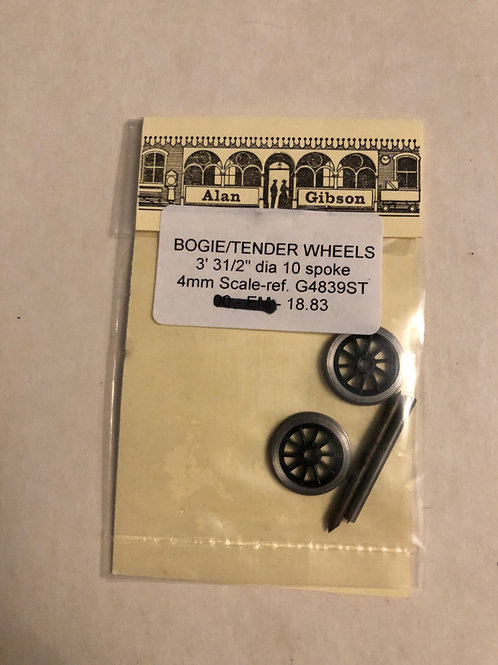 "ALAN GIBSON - GA4839ST BOGIE/TENDER WHEELS 3' 31/2"" dia. 10 SPOKE"