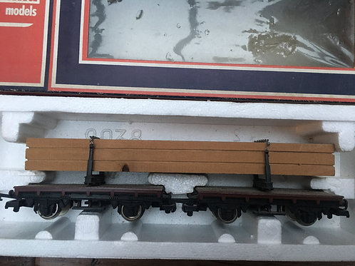309038 2x FLAT WAGONS WITH TIMBER LOAD