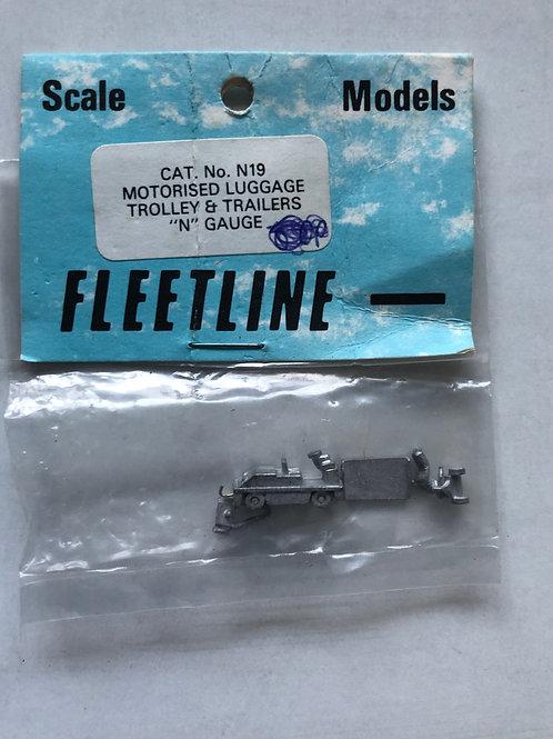 FLEETLINE N GAUGE - N19 MOTORISED LUGGAGE TROLLEY & TRAILERS