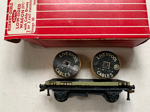 4646 LOW SIDED WAGON WITH CABLE DRUMS (metal couplings) - BOXED