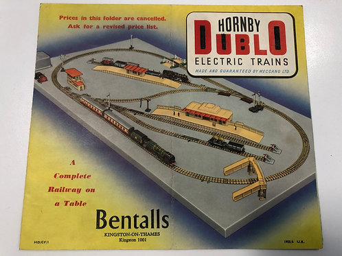 HORNBY DUBLO - ELECTRIC TRAINS - 1955/56 POSTER PRICE GUIDE - BENTALLS