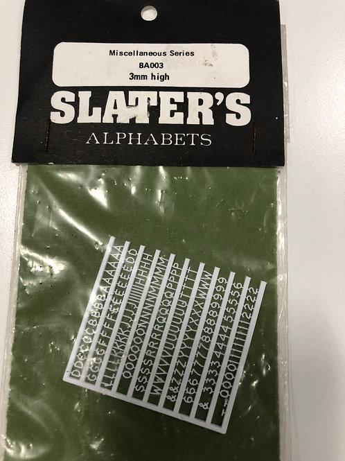 SLATERS - BA003 3mm HIGH ALPHABET