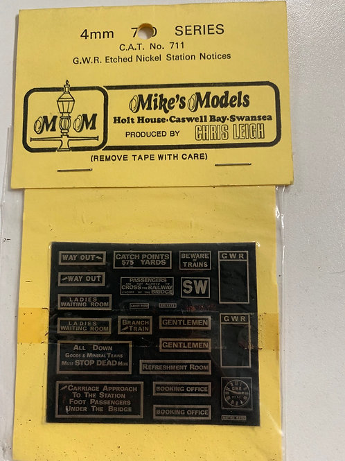 MIKE'S MODELS - No 711 GWR ETCHED NICKEL STATION NOTICES