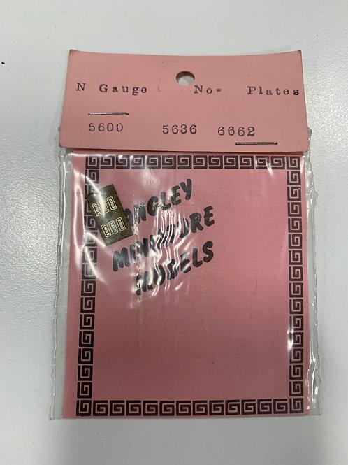 LANGLEY MINIATURE MODELS N GAUGE - NUMBER PLATES 5600 5636 6662