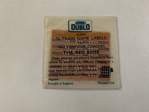 32884 12 TRAIN NAME LABELS FOR D22 COACHES - THE RED ROSE