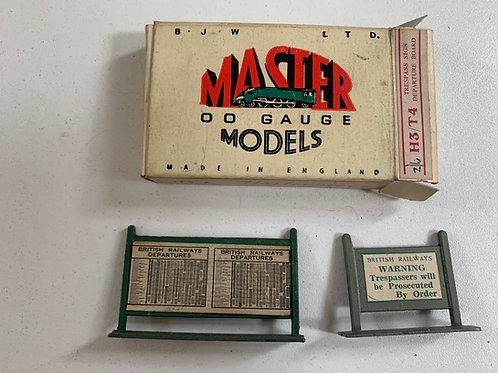 WARDIE MASTER MODELS H3/T4 TRESPASS SIGN / DEPARTURE BOARD