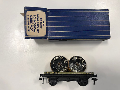 32086 D1 LOW SIDED WAGON WITH CABLE DRUMS - 2 or 3 RAIL