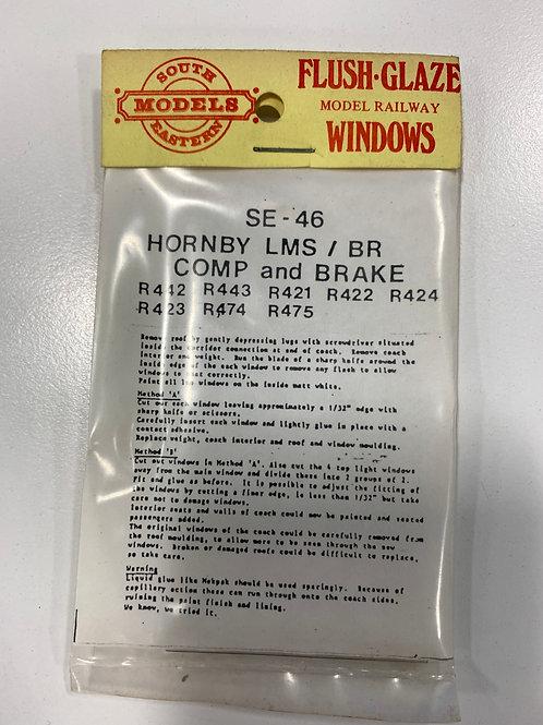 SOUTH EASTERN MODELS - GLAZED WINDOWS - SE - 46 HORNBY LMS BR COMP & BRAKE