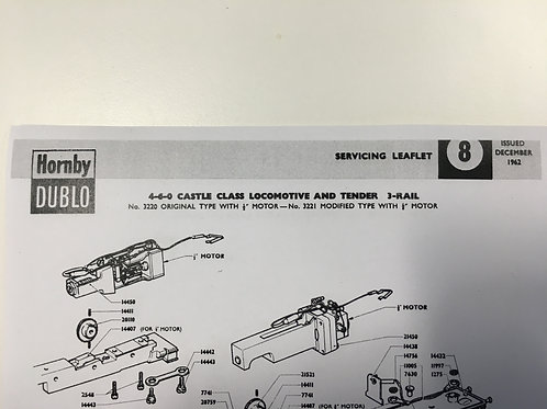 HORNBY DUBLO - SERVICING LEAFLET No 8 - 4-6-0 CASTLE CLASS LOCO 3 RAIL