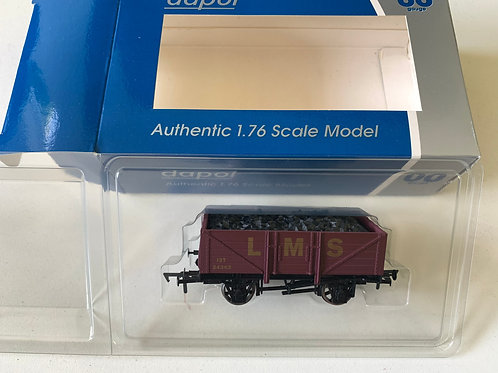 WRCC19A - LMS 5 PLANK COAL WAGON MAROON WITH YELLOW WRITING - LIMITED EDITION