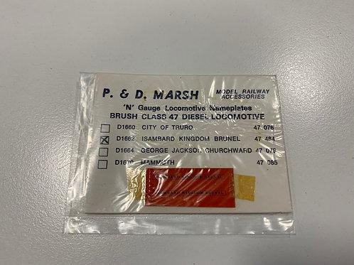 P & D MARSH N GAUGE - LOCO NAME PLATES D1662 ISAMBARD BRUNEL