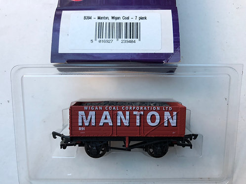 B394 - 7 PLANK WAGON MANTON WIGAN COAL