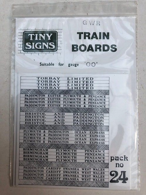 TINY SIGNS - No 24 GWR TRAIN BOARDS