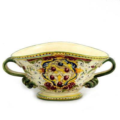 Oval centerpiece with handles 45 x 30 H cm 20