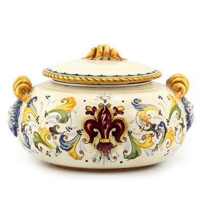 Round biscotti jar with lion heads cm 31 H cm 19