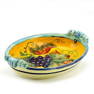 Oval tray with curly hanldes cm 38 x 25