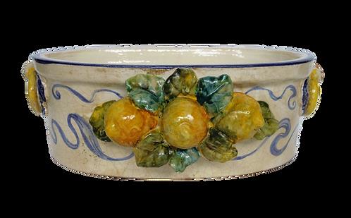 Vasca ovale fioriera cm 38 x 24 limoni applicati