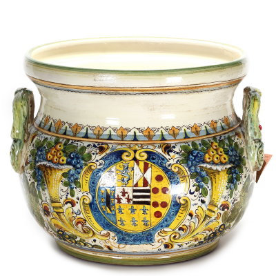 Large round cachepot with handles cm 54