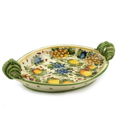Oval tray with serpentine handles cm 50 x 32