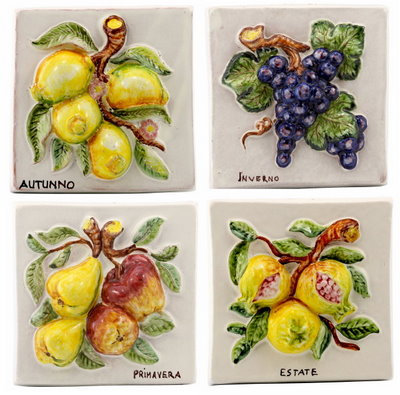 Square tile with fruit in relief cm 20 x 20